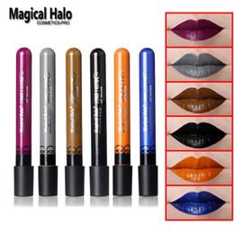 All'ingrosso- 6 colori Magical Halo Long Lasting Lip Gloss Matte Lip Tattoo Lipgloss Impermeabile Pigmento Marca trucco Lip Glaze Prugna Colore Nero cheap lip plum da lip plum fornitori