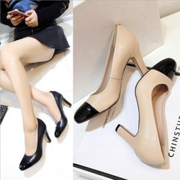 Wholesale Dress Shoes Wedding Vintage Women - Fashion female lady's single shoes shallow mouth thick heel Roman style preppy style vintage casual women's oxfords