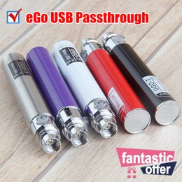 Wholesale Ego Batteries Pass - Micro EGO Passthrough Battery 650mah Electronic Cigarette Lateral Charger Batteries with USB Cable 510 thread EVOD Pass through