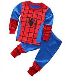 Wholesale Men Cotton Pyjamas - 2017 New Kids most love Spider-Man cartoon cotton pajamas boys superman ironman batman home pyjamas Children Sets wholesale FREE SHIPPING