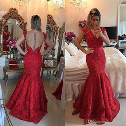 Wholesale See Through Nude Prom Dresses - 2k17 Burgundy Sexy See Through Back Lace Evening Dress Vestido Vermelho Longo V-neck Mermaid Bow Ribbon Arabic Prom Dresses with Pearls