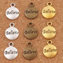 Rotondo in bronzo online-Believe Round Spacer Charm Beads 300 pz / lotto 15.4x11.8mm Argento Antico / Oro / Bronzo Pendenti Gioielli FAI DA TE L350 LZsilver