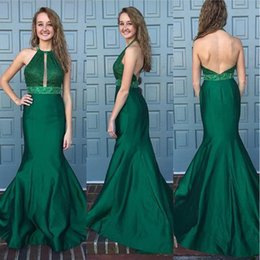 Wholesale Emerald Green Sashes - Emerald Green Robe De Soiree 2017 Mermaid Halter Neck Lace Beading Sash Backless Sexy Long Prom Dresses Prom Gown Evening Dress SE135