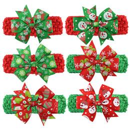 Patrones de cintas para la cabeza del bebé online-Navidad Bebé Para Niños Diademas Patrón de Navidad Lindo Hairbands Nudo Arco Diadema Moda Colorido Papá Noel Tocado Banda para el cabello