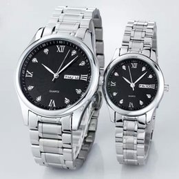 Wholesale Dress Displays - New AAA Top Brand Couple Women Mens Watches Day Date Display Diamond Dial Business Luxury Watch Dress Quartz Wristwatches for men relojes