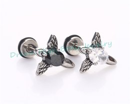Wholesale Nails Barbells - Cool Angel Clear Black Zircon Men's Earring Barbell Ear Stud Ring Nail Real Stainless Steel personality character Wholesale