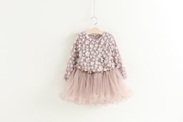 Wholesale Dress Tutu Long Sleeve Girl - New Child Dress Girls Floral Dresses Fashion Kids Long Sleeve Princess Pearl Flower Tutu Dress Good quality