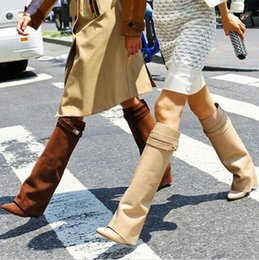 Wholesale Kardashian Shoes - 2017 Brand Shoes Women Booties Kim Kardashian Wearing Belt Buckle Wedge Boots Women Sexy Pointed Toe Lock Fold Over Knee High Boots