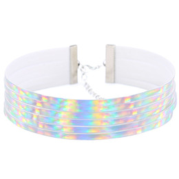 Wholesale Chocker Statement Necklaces - Laser luminous Leather Multi layer Holographic choker necklace women goth holo iridescent chocker statement necklace 2017 punk jewelry
