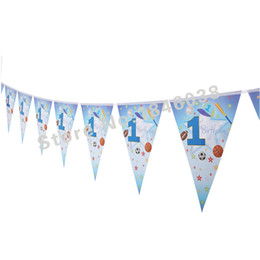 Wholesale Children Birthday Party Themes - Wholesale- 12flags Cartoon Pattern 1st sports boy Theme Party Birthday Party Decoration Banner For Children kids Party Supplies