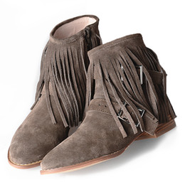 Wholesale Camel Boot Genuine Leather - Genuine Leather Autumn Winter Fringe Ankle Boots Low Heels Comfortable Simple Retro Round Toe Women Boots Black Grey Camel