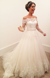 Wholesale Modify Dress - Gorgeous 2017 A-Line Long Sleeve Wedding Dresses Jewel Heavily Embellished Illusion Bodice Long Sleeves Lace Back Modified Bridal Gowns BB