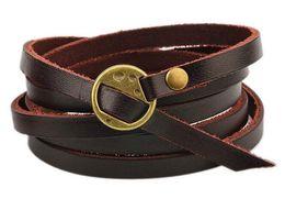 Wholesale Vintage Friendship - Brand New Multilayer Genuine Leather Wrap Bracelet Mens Women Wish Friendship Vintage Bracelets Bangles Men Jewelry pulseras hombre
