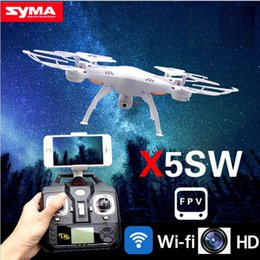 Wholesale Syma Rc Helicopter Free Shipping - Original Drones SYMA X5SW WIFI RC Drone FPV Helicopter Quadcopter with HD Camera 2.4G 6-Axis Real Time RC Helicopter Toy Free Shipping.