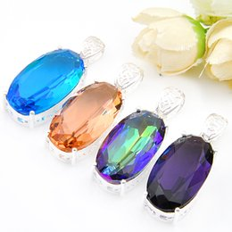 Wholesale Amethyst Gemstone Pendant - Mix Color 4PCS Lot Classic Blue Mystic Topaz Amethyst Morganite Gemstone 925 Silver Pendants for Necklace Party Holiday Gifts