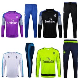 Wholesale Yellow Sweat Suits - Soccer tracksuits 2017 Best quality survetement football suit Real Madrid training suit sweat top chandal soccer jogging football suit