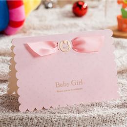 Vente en gros- 20PCS / Lot de cartes d'invitation de fête d'enfants d'anniversaire de fête des enfants de couleur rose pour les cartes de fille nouveau-né Baby Shower Invitations ? partir de fabricateur