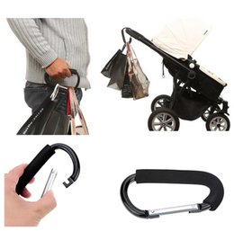 Wholesale Pram Accessories - The Mommy Hook Stroller Accessory Black Baby Products 1 Piece Baby Car Carriage Stroller Hook Clips Accessory High Quality Aluminum Pram Hoo