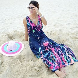 Wholesale Tie Dyed Dresses For Women - 2017 Plus Size M-5XL Summer Style Boho Long Dress Women Beach Tie-dye Print Maxi Dress For Women Casual Robe Longo