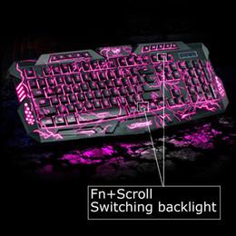 Wholesale Multimedia Led Keyboard - 100% Original M200 LED Keyboard 3 Colors Adjustable LED Backlight Crack Illuminated USB Multimedia PC Gaming Gamer Game keyboards