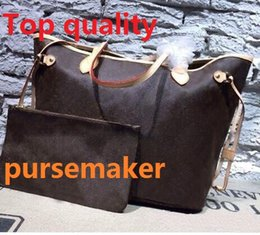 Wholesale Canvas Bucket - AAAAA! excellent quality 100% genuine leather 40995 shoulder bag women shopping bag with small purse 41358 Professional seller