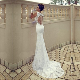 Wholesale Free Wedding Dresses - Free Shipping!Mermaid Lace Wedding Dress 2016 Vestidos De Novia Baratos Sexy Backless Wedding Dresses Backless