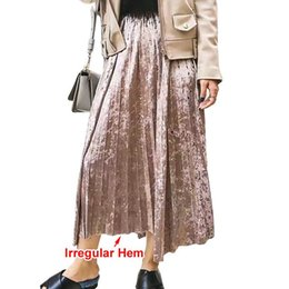 Wholesale Metal Clothes Line - [TWOTWINSTYLE] 2017 Spring Korean Metal Color Pleated Velvet Skirt Women High Waist New Fashion Clothing