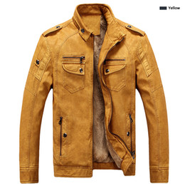 Wholesale long leather jackets for men - Brand Designer Men Leather Jacket Coat Fashion Stand Collar Slim Fit Thick Fleece Men Jackets For Autumn Winter