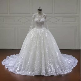Wholesale Wedding Dress Simple Ballgown - Luxury Wedding Dress Scoop Collar Long Sleeve Illusion Applique Bead BallGown Custom Make Bridal Gown 2017