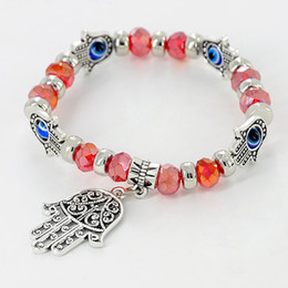 Wholesale Turkey Evil Eye Bead - Turkey Evil Eye Bracelet Resins Beads Shamballa pendant Kabbalah Hand beaded bracelet strand elastic wristband charm jewelry