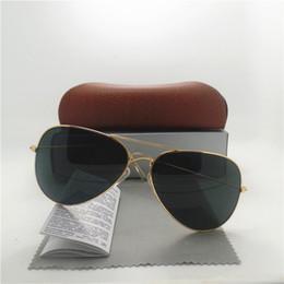 Wholesale Sports Sun Goggles - AAA+quality Glass lens Fashion Men and Women Pilot Sunglasses UV400 Brand Designer Vintage Sport Sun glasses With Brown box
