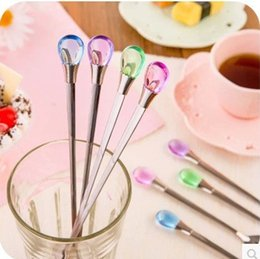 Wholesale Long Spoons Ice Tea - Creative Water Drop Ladle Stainless Steel Long Handled Spoons Tea Coffee Stirring Spoon Ice Cream Scoop Colorful Easy To Clean 2 3zc2 AR