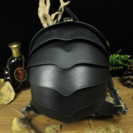 Wholesale Cow Leather Backpack - Wholesale- High Quality 3D Vivid Cute Beetle Shaped Genuine Leather Backpack Boys Girls Adorable Handmade Male Female Cow Leather Back Pack
