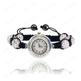 Wholesale Disco Ball Watch Sets - Wholesale-Fashion Crystal Jewelry 10mm Crystal AB Clay Disco Ball Crystal Bracelet Watch Bracelet Bangle Mix Colors Free Shipping SHBR-018