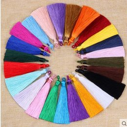 Wholesale Earrings Pc Mix - 15 pcs per lot mixed colors tassels length 10cm width 8mm Tassels Silk Earrings Charm Pendant Satin Tassels For DIY Jewelry Making Findings