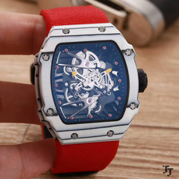Wholesale Red Machinery - 2017 top brand luxury carbon fiber men's watch mineral tempered glass mirror 43mm automatic machinery