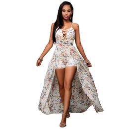 Wholesale Asymmetric Strap Summer Dress - Chiffon spaghetti strap casual dresses for women Floral Print Dress empire floor length asymmetric summer dresses