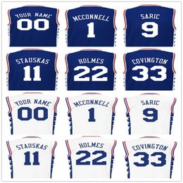 Wholesale Screen Printed Mens TJ McConnell Dario Saric Jersey Nik Stauskas Richaun Holmes Robert Covington Blue White Basketball Jerseys