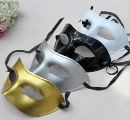 Wholesale Plastic Black Venetian Mask - Men's Masquerade Mask Fancy Dress Venetian Masks Masquerade Masks Plastic Half Face Mask Optional Multi-color