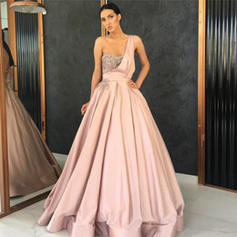 Wholesale Blinking Ball Lights - New Sexy One-Shoulder Evening Dress Blink Blink Strapless 2018 Sleeveless Satin Draped Ruffles Ball Gown Floor Length Prom Dresses