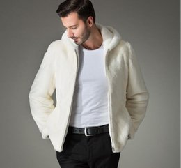 Wholesale Long White Mink Fur Coat - New winter white men's Imitation mink fur coat male slim with a hood jacket personality casual thermal fur outerwear S-4XL
