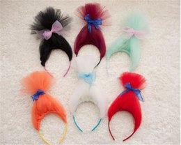 Wholesale Colorful Wigs Wholesale - Newest Kids Trolls Wigs Hair Sticks Cosplay Hair Accessories Children Party Festival Colorful Hairpiece Cartoon Cosplay