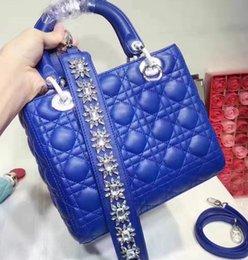 Wholesale Spandex Nude Women - Luxury Rhinestone Strap Lady Bag Genuine Leather Desinger Bag Famous Brand Women Christian Handbag Flap Shoulder 5 Grid   3 Grid Bag D12