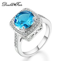 Wholesale Gemstone Diamond Rings - Big Blue Imitation Gemstone Rings White Gold Plated CZ Diamond Ring For Women Wedding Wholesale Crystal Fashion Jewelry DFDD067