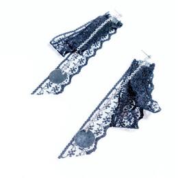Wholesale Handmade Earrings Designs - Handmade Round Triangle Geometric Pendant Stud Earrings Black Lace Long Tassel Design Earrings Gothic Earring For Women