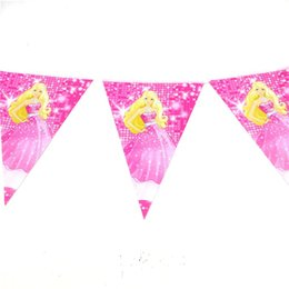 Wholesale Dolls Favors - Wholesale- 2.5m Kids Favors Barbie Doll Cartoon Theme Baby Shower Decoration Flags Happy Birthday Party Banners Paper Pennats Supplies