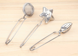 Wholesale Metal Star Shapes - Star shape Tea Infuser oval-Shaped 304#Stainless Tea strainer Infuser Spoon Filter free shipping