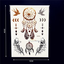 Wholesale dreamcatcher design - Wholesale- Fashion Gold Dreamcatcher Metallic Tattoo Stickers Women HYS-124 Golden Dream Catcher Designs Tattoo tatouage taty Tattoos Lady