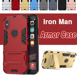 Wholesale Iron Man Casing - Iron Man 2 in 1 Heavy Duty Kickstand Armor Case Hybrid TPU +PC Shockproof With Stand Holder For iPhone X 8 7 Plus Samsung Note 8 S8 S7 Edge