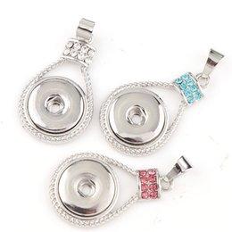 Wholesale Vintage Teardrop Rhinestone Necklace Pendant - 2017 Interchangable Fit 18mm Snap Buttons Vintage Teardrop Snaps Button Crystal Rhinestone Pendant DIY Necklace Jewelry Charm